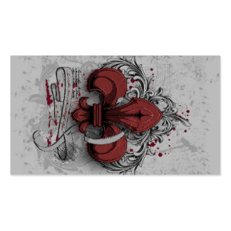 Vintage fleur-de-lis red metal grunge effects Double-Sided standard business cards (Pack of 100)
