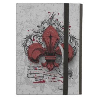 Vintage fleur-de-lis red metal grunge effects iPad air covers