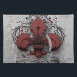 "Vintage fleur-de-lis red metal grunge effects placemat<br><div class=""desc"">Vintage fleur-de-lis red metal grunge effects damask splatters ribbons lines old writing red grey black image print</div>"
