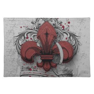 Vintage fleur-de-lis red metal grunge effects cloth placemat