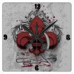 Vintage fleur-de-lis red metal grunge effects square wall clock