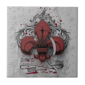 Vintage fleur-de-lis red metal grunge effects tile