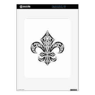 Vintage Fleur de Lis w/ Scrolls in Heraldry Style Skin For iPad