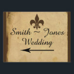 "Vintage Fleur De Lis Wedding Direction Sign<br><div class=""desc"">This beautiful and elegant vintage design, called Vintage Fleur De Lis Love Letter Wedding, has a beautiful classic design with a modern feel. The background is a cream colored parchment look with a brown border. On the front there is an excerpt of an antique love letter written in French with...</div>"