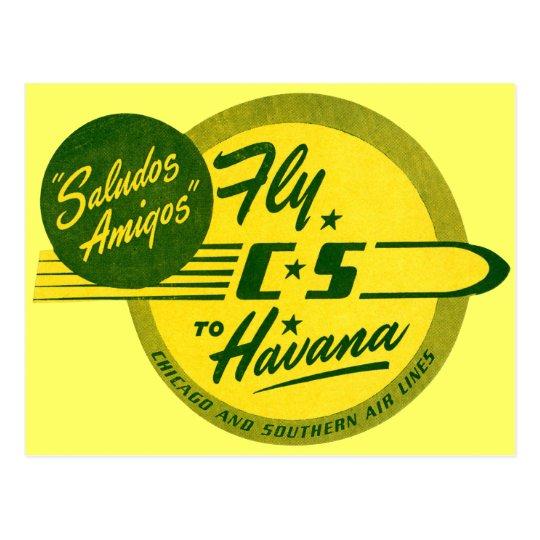 Vintage Flight to Havana Postcard