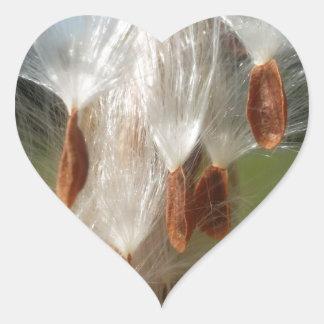 Vintage Flora and Fauna Milkweeds Floating.jpg Heart Sticker