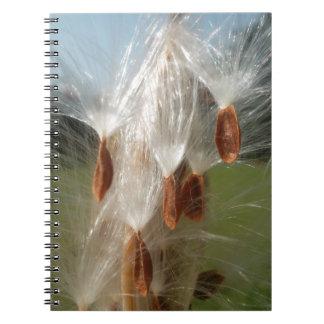 Vintage Flora and Fauna Milkweeds Floating.jpg Spiral Notebook