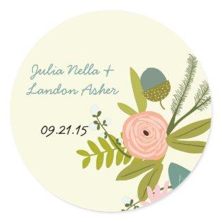 Vintage Flora and Fauna Wedding Sticker