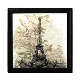 Vintage Flora Paris Eiffel Tower Jewelry Box