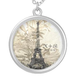 Vintage Flora Paris Eiffel Tower Love Gift Round Pendant Necklace