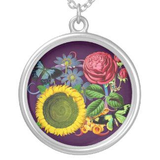 Vintage Flora Round Pendant Necklace
