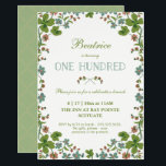 """Vintage Floral 100th Birthday Invitation<br><div class=""""desc"""">This 100th birthday invitation is a vintage style, inspired by a postcard from the early 1900s. It features a frame of green, blue and pink clover flowers. The back has a complementary green background with a white quatrefoil pattern that can be changed or removed. The text can be customized to...</div>"""