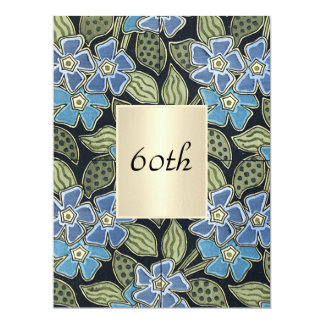 Vintage Floral 60th  Birthday Party  Blue Card