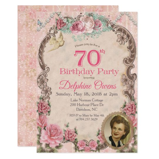 Vintage Floral 70th Birthday Invitation