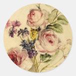 Vintage floral a partir de siglo XVIII Pegatina Redonda