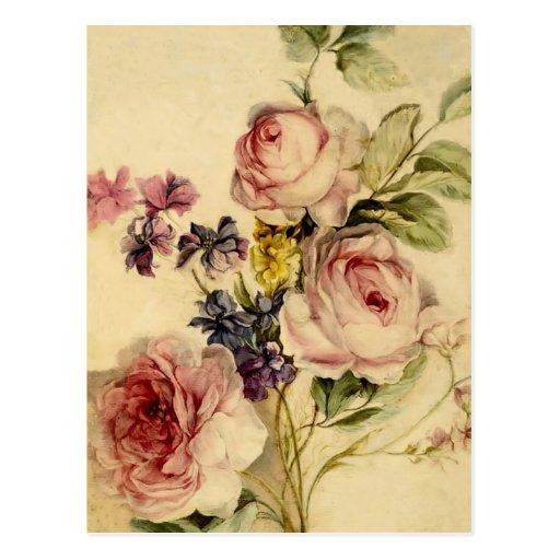 Vintage floral a partir de siglo XVIII Postal