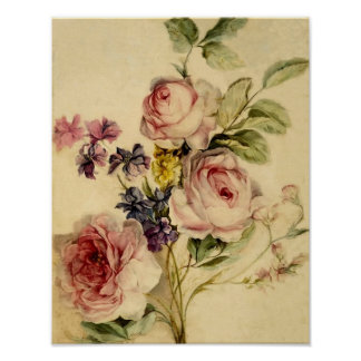 Vintage floral a partir de siglo XVIII Póster