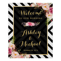 Vintage Floral Abstract Lines Pattern Wedding Sign