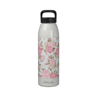 Vintage floral botella de beber