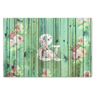 """Vintage Floral Ampersand Turquoise Beach Wood 10"""" X 15"""" Tissue Paper"""
