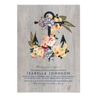 Vintage Floral Anchor | Elegant Bridal Shower Card