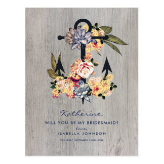 Vintage Floral Anchor | Will You Be My Bridesmaid? Postcard