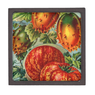 Vintage Floral and Fruit Seed Catalog Gifts Premium Keepsake Box
