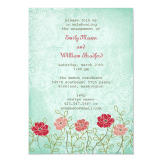 Vintage Floral and Leaves Invitation (5x7)
