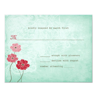 Vintage Floral and Leaves Response 4.25x5.5 Paper Invitation Card