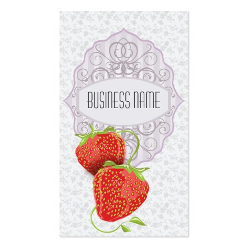 Vintage Floral and Strawberries Business Card (front side)