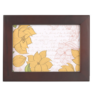 Vintage Floral and Vintage Text - Personalize!! Keepsake Box