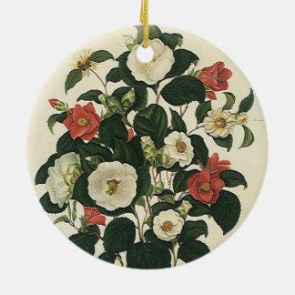 Vintage Floral, Antique Garden Roses Flowers Ceramic Ornament