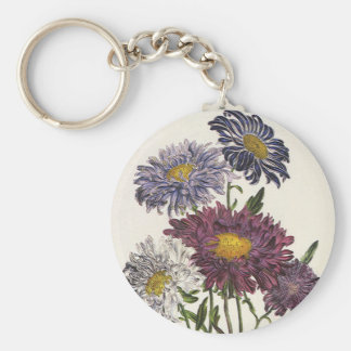 Vintage Floral, Antique Purple Aster Flowers Keychain