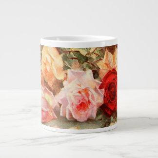 Vintage Floral Antique Rose Flowers Still Life Art 20 Oz Large Ceramic Coffee Mug