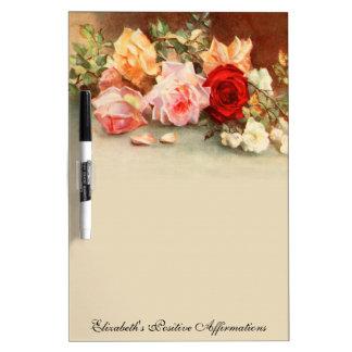 Vintage Floral Antique Rose Flowers Still Life Art Dry-Erase Board