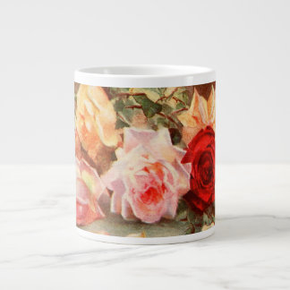 Vintage Floral Antique Rose Flowers Still Life Art Giant Coffee Mug