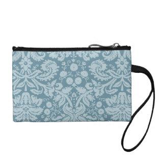 Vintage floral art nouveau blue green aqua pattern change purse