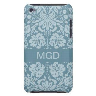Vintage floral art nouveau blue green monogram iPod touch Case-Mate case