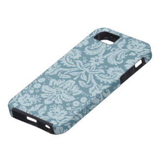 Vintage floral art nouveau blue green pattern iPhone 5 case