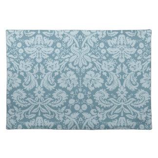 Vintage floral art nouveau blue green pattern placemat