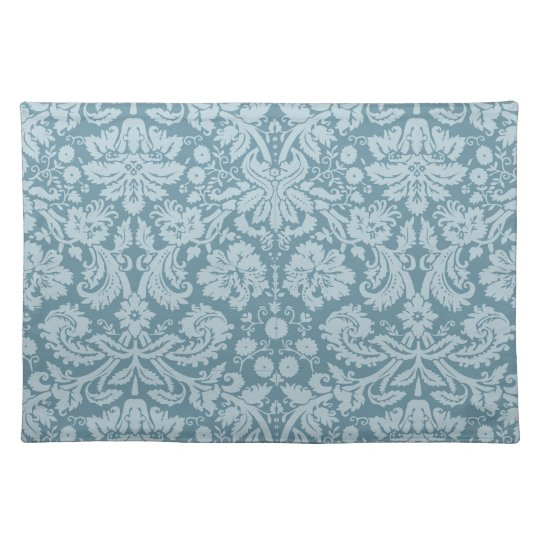 Vintage floral art nouveau blue green pattern placemat