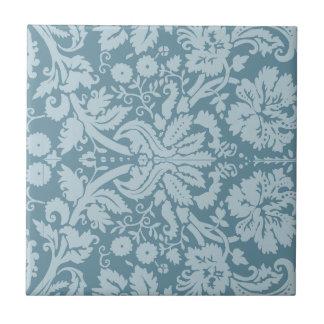 Vintage floral art nouveau blue green pattern tile