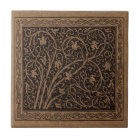 Vintage Floral Art Nouveau Flower Swirls Ceramic Tile
