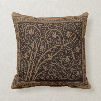 Vintage Floral Art Nouveau Flower Swirls Throw Pillow