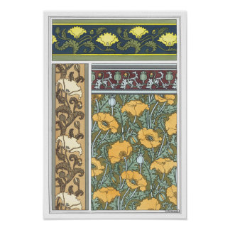Vintage Floral Art Nouveau Poppy Flowers Poster