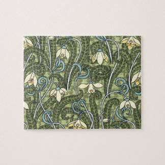 Vintage Floral Art Nouveau Snowdrop Flowers Jigsaw Puzzle