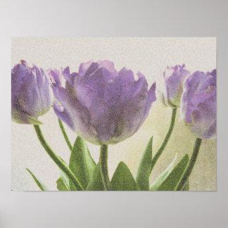 Vintage floral art poster | Purple tulip flowers