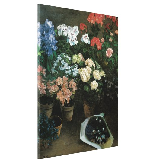 Vintage Floral Art, Study of Flowers by Bazille Canvas Print