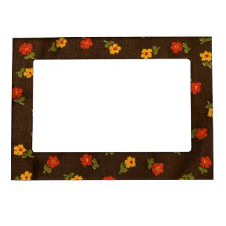 Vintage Floral Autumn Brown Magnetic Picture Frame
