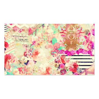 Vintage Floral Aztec Retro Pink Patchwork Double-Sided Standard Business Cards (Pack Of 100)